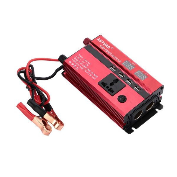 ตัวแปลงไฟ ในรถยนต์ 600W 12VDC ไป 220VAC พาวเวอร์ อินเวอร์เตอร์ ชาร์จ USB 1 ช่อง + 220VAC 2 ช่อง